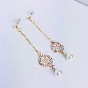 New! Rhinestones Star Linear Drop Dangle Earrings